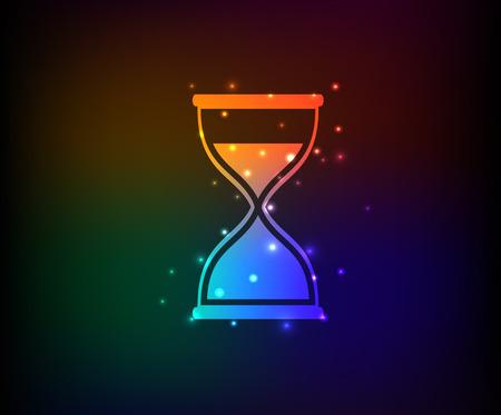 timepieces: Hourglass symbol,Rainbow vector Illustration