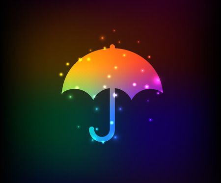 Umbrella symbol,Rainbow vector Vector