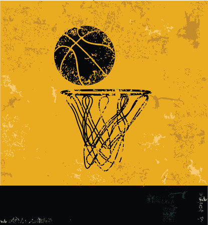 metal net: Basketball symbol,grunge design