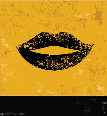 Mouth symbol,grunge design Vector