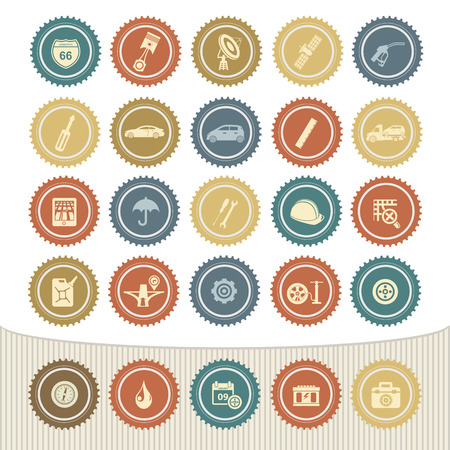 24h: Car service icon set,Retro button Illustration