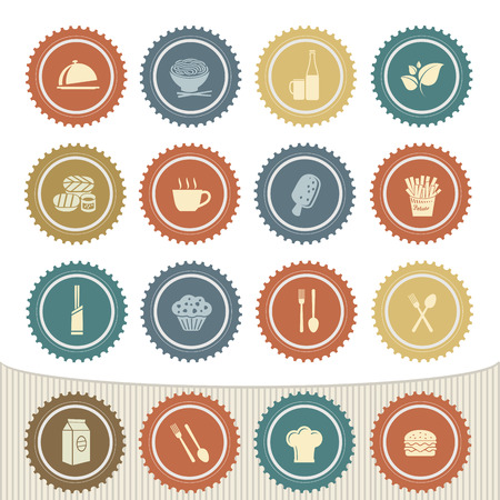 Food and drink icon set,Retro button Vector