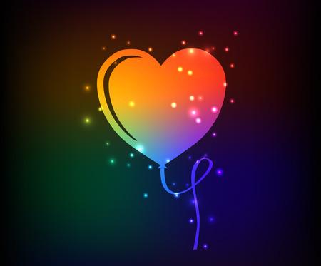 palloncino cuore: Cuore simbolo aerostato, arcobaleno vettore