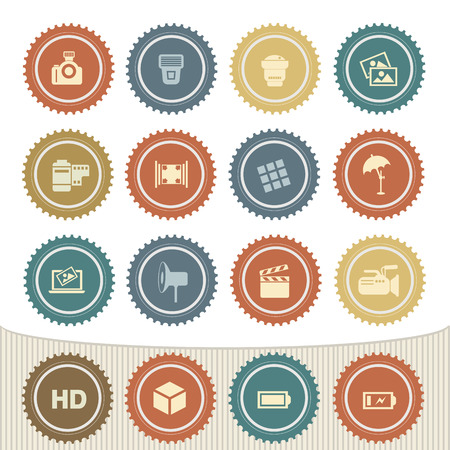Camera icon set,Retro button Vector