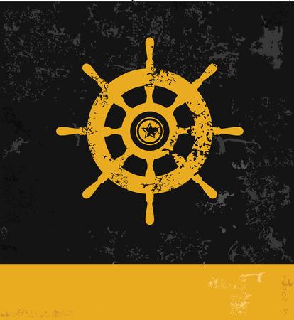 tallship: Boat symbol,grunge vector Illustration