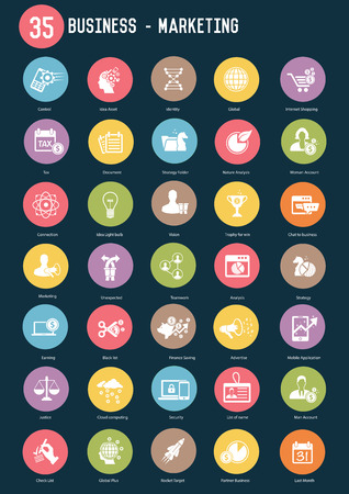 brand monitoring: 35 Business marketing buttons,Color vector Illustration