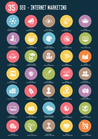 brand monitoring: 35 SEO internet marketing buttons,Color vector