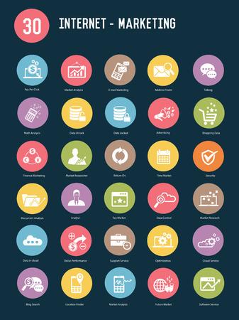 30 Internet marketing buttons,Color vector Illustration