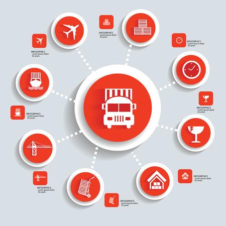 Logistic concept info graphics,orange vector Vector