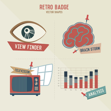 hypnotizing: Retro marketing business icons,vector