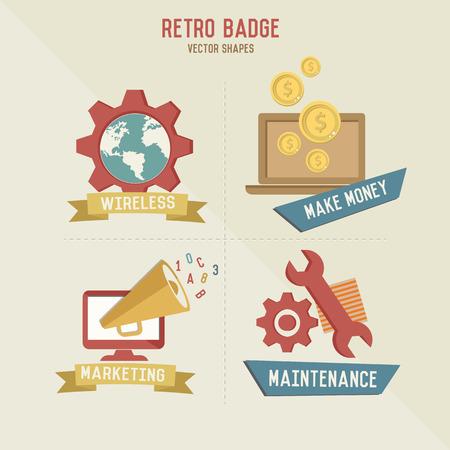 Retro marketing business icons,vector Vector