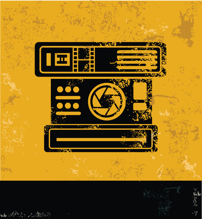 lomography: Old camera Symbol,yellow vector