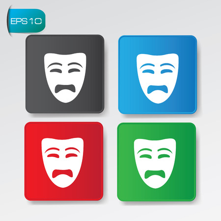 Sad mask buttons,vector Vector