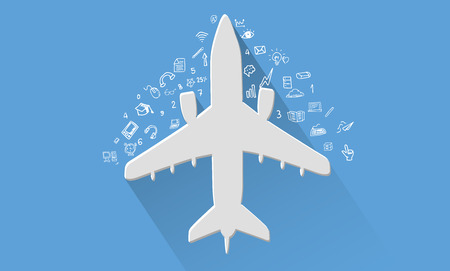 Airplane travel concept,vector Illustration