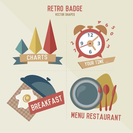 negocios comida: Iconos de empresas alimentarias Retro, vector