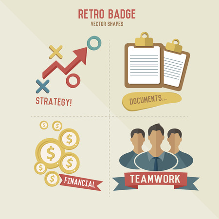 Retro strategy marketing business icons,vector Vector