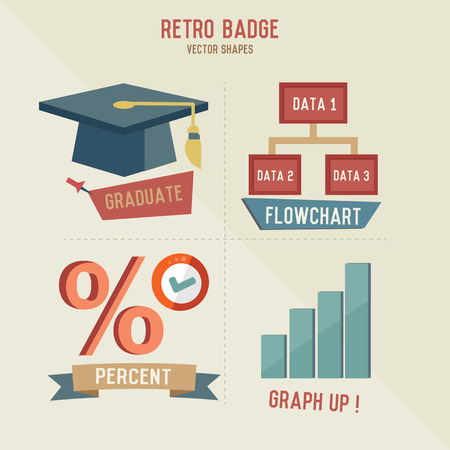 trencher: Retro Education business icons,vector
