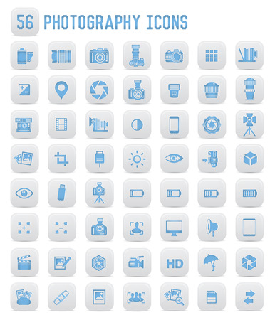 blue buttons: 56 Photography icons,blue buttons