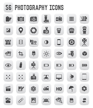 stage lighting: 56 Photography icons,black buttons
