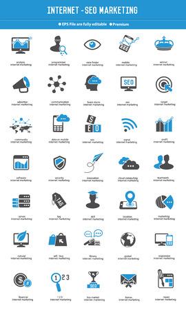 SEO - 인터넷 마케팅 아이콘이 파란색 아이콘을 설정, 벡터