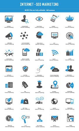 SEO - Internet marketing icon set blauwe pictogrammen, vector