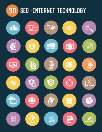 optimizing: SEO and business marketing icons design clean  Illustration