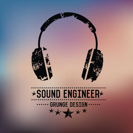 Earphone badge grunge symbol on blur background,vector