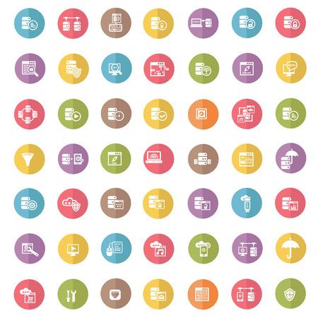 db: Database icon set,color vector Illustration
