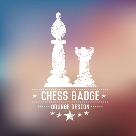Chess badge grunge symbol on blur background,vector Vector