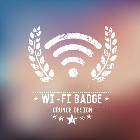 wep: Wireless badge grunge symbol on blur background,vector