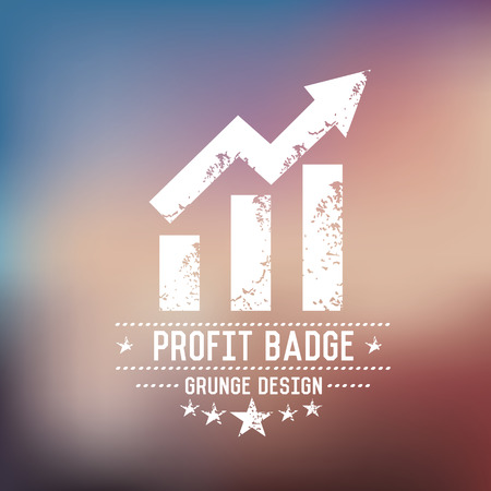 Profit badge grunge symbol on blur background,vector Stock Vector - 30132711