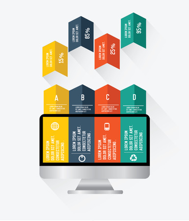 Monitor infographics on white background,vector Vector