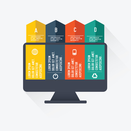 scalable: Monitor infographics on white background,vector Illustration