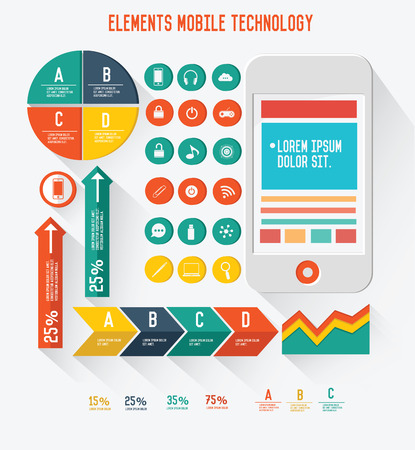 graphics design: Elements of Mobile info graphics design,vector Illustration