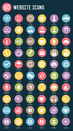 36 Web service flat icons,color vector Vector