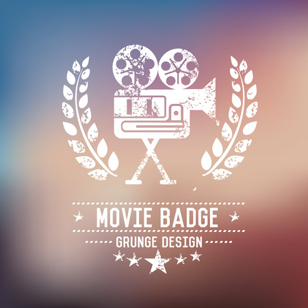 hd: Movie badge grunge symbol on blur background,vector Illustration