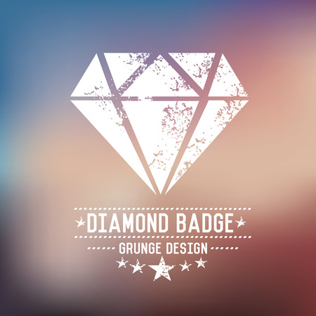 Diamond badge grunge symbol on blur background,vector Vector