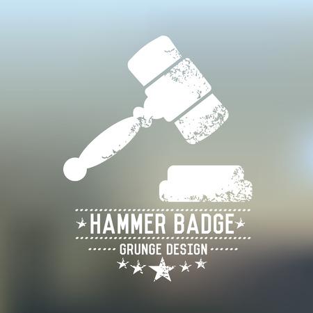 hammer: Hammer badge grunge symbol on blur background,vector