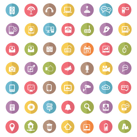 Media   technology icons,colors vector Vector