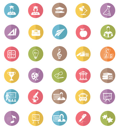 cams: Education icons,colors vector Illustration