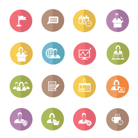 Human resource and business icons,colors vector Illustration