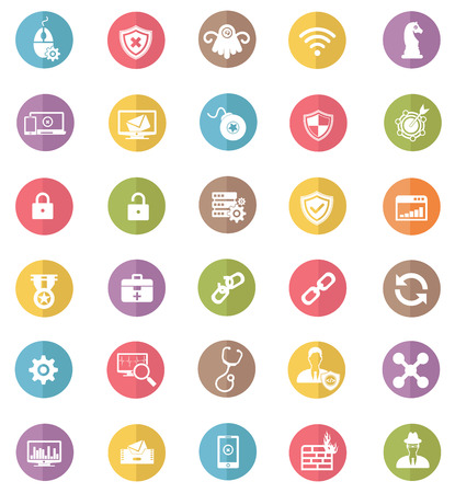 Virus computer and security computer icons,colors vector