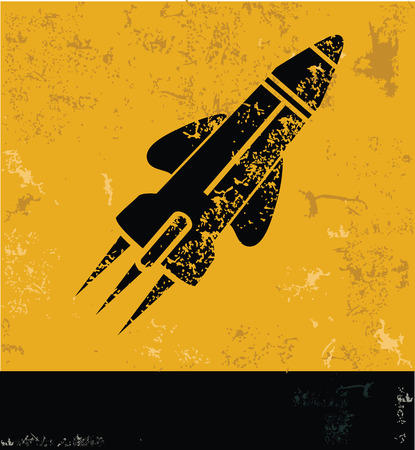 Rocket grunge symbol,yellow vector Vector