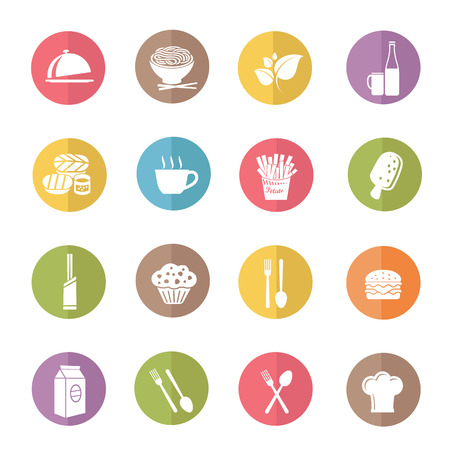 Food and drink icon set,color vector Vector