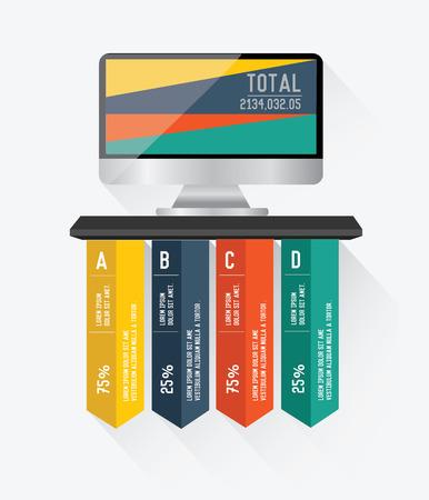 electronic organiser: Monitor infographics on white background,vector Illustration