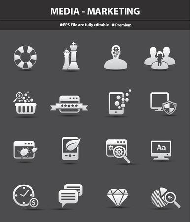 presencia: Medios de comunicaci�n y marketing para negocios iconos, vector