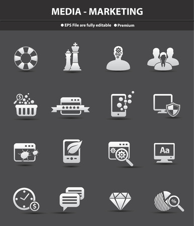 Media and marketing for business icons,vector Illustration