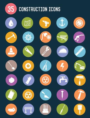 35 Construction flat icons,colour vector Vector