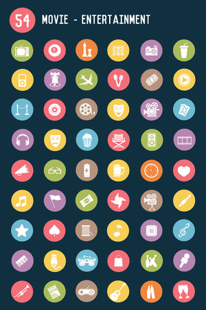 film role: 54 Media and entertainment flat icons,colour vector Illustration
