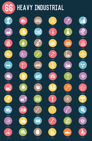 66 Heavy industrial,factory and pollution flat icons,color vector